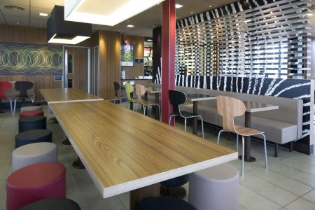Laminate tables and seating in fast food restaurant