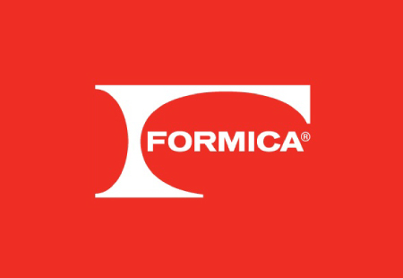 Formica Logo white on red background
