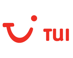 TUI Group logo Thompson logo smiley red face on white background