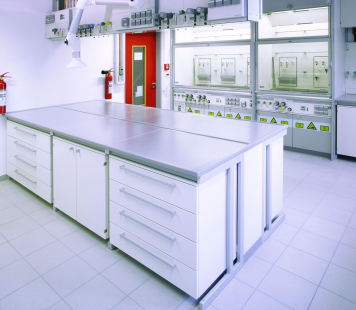 White science lab with equipment